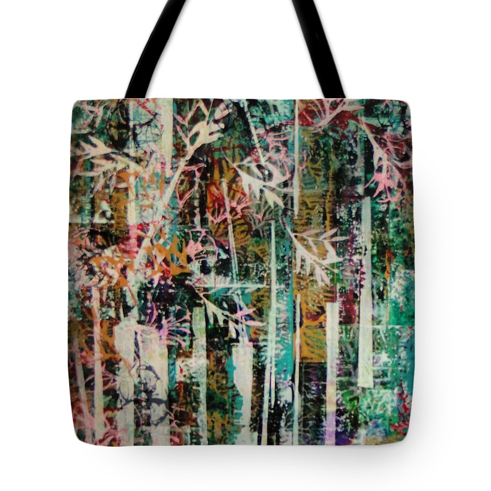 Abstract - Forest - Fantasy - Tropical - Trees - Bamboo -foliage - Nature - Bright Colors Tote Bag featuring the painting Tropical Paradise by Barbara March