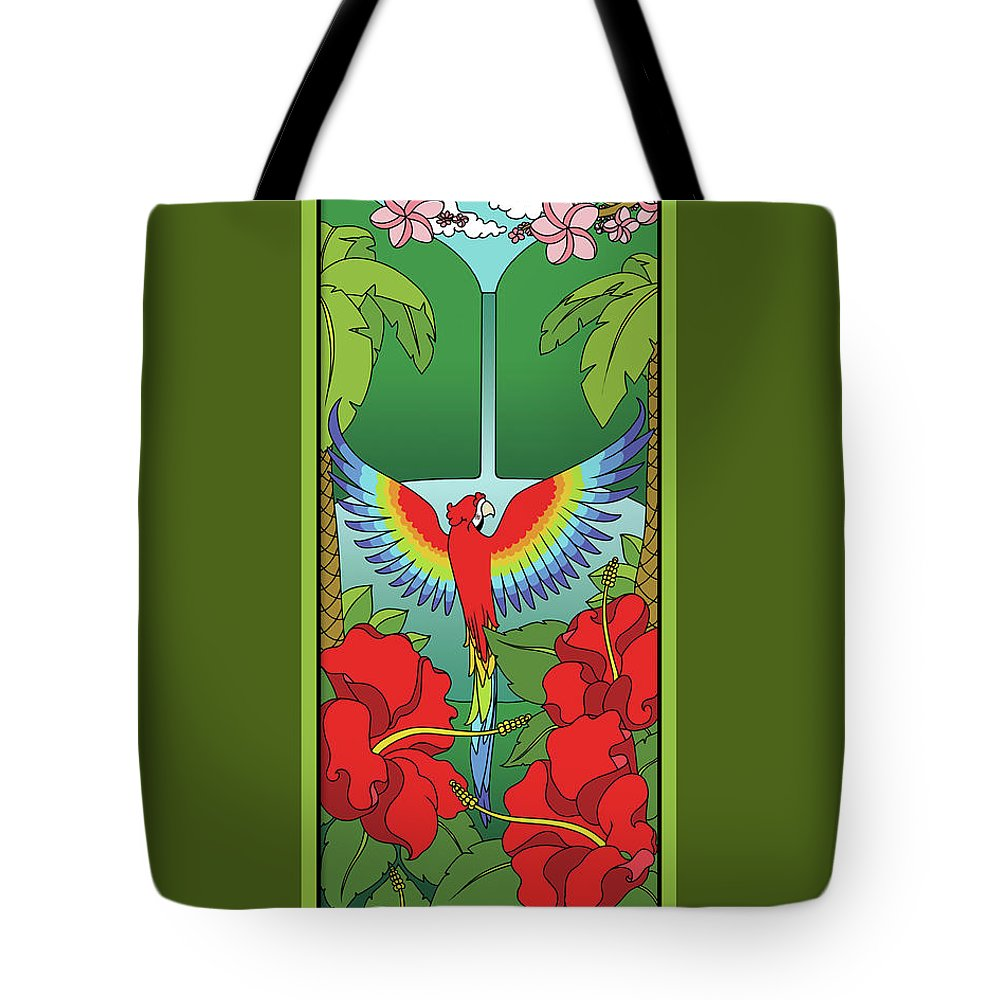 Tropical Tote Bag featuring the digital art Tropical Paradise by Eleanor Hofer