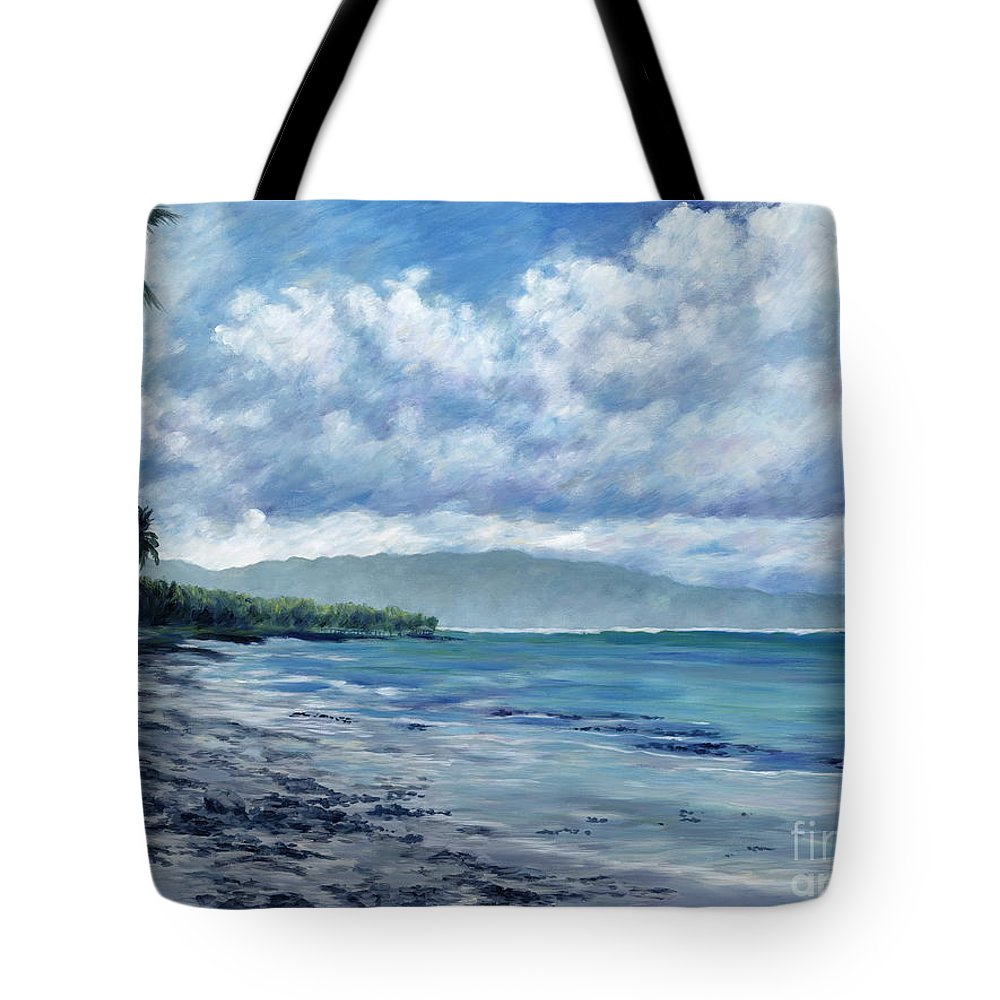 Seascape Tote Bag featuring the painting Tropical Rain by Danielle Perry