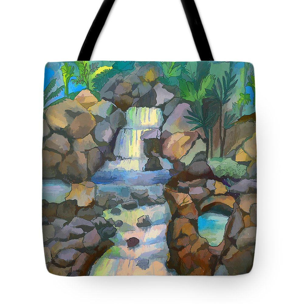Waterfall Tote Bag featuring the painting Tropical Rainbow Waterfall by Arline Wagner