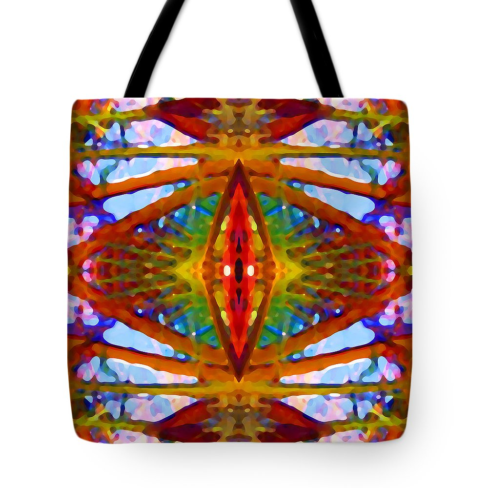 Abstract Tote Bag featuring the painting Tropical Stained Glass by Amy Vangsgard