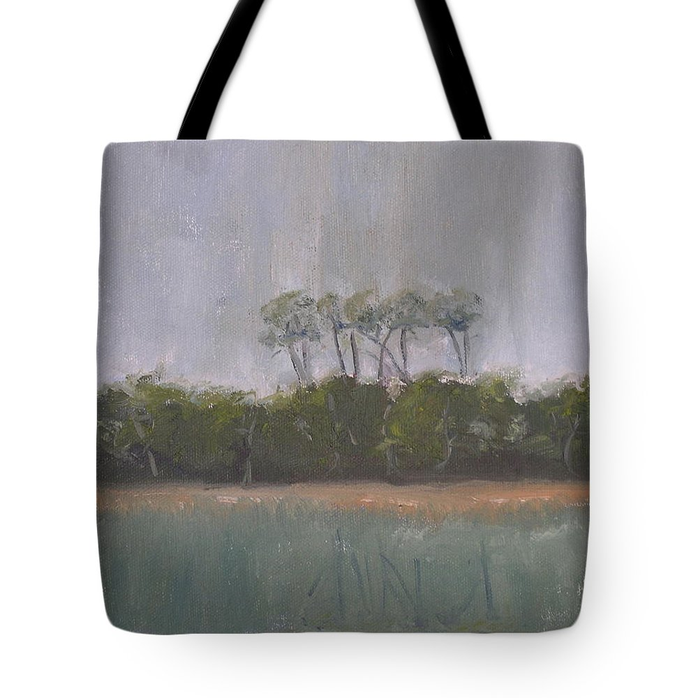 Landscape Beach Coast Tree Water Tote Bag featuring the painting Tropical Storm by Patricia Caldwell