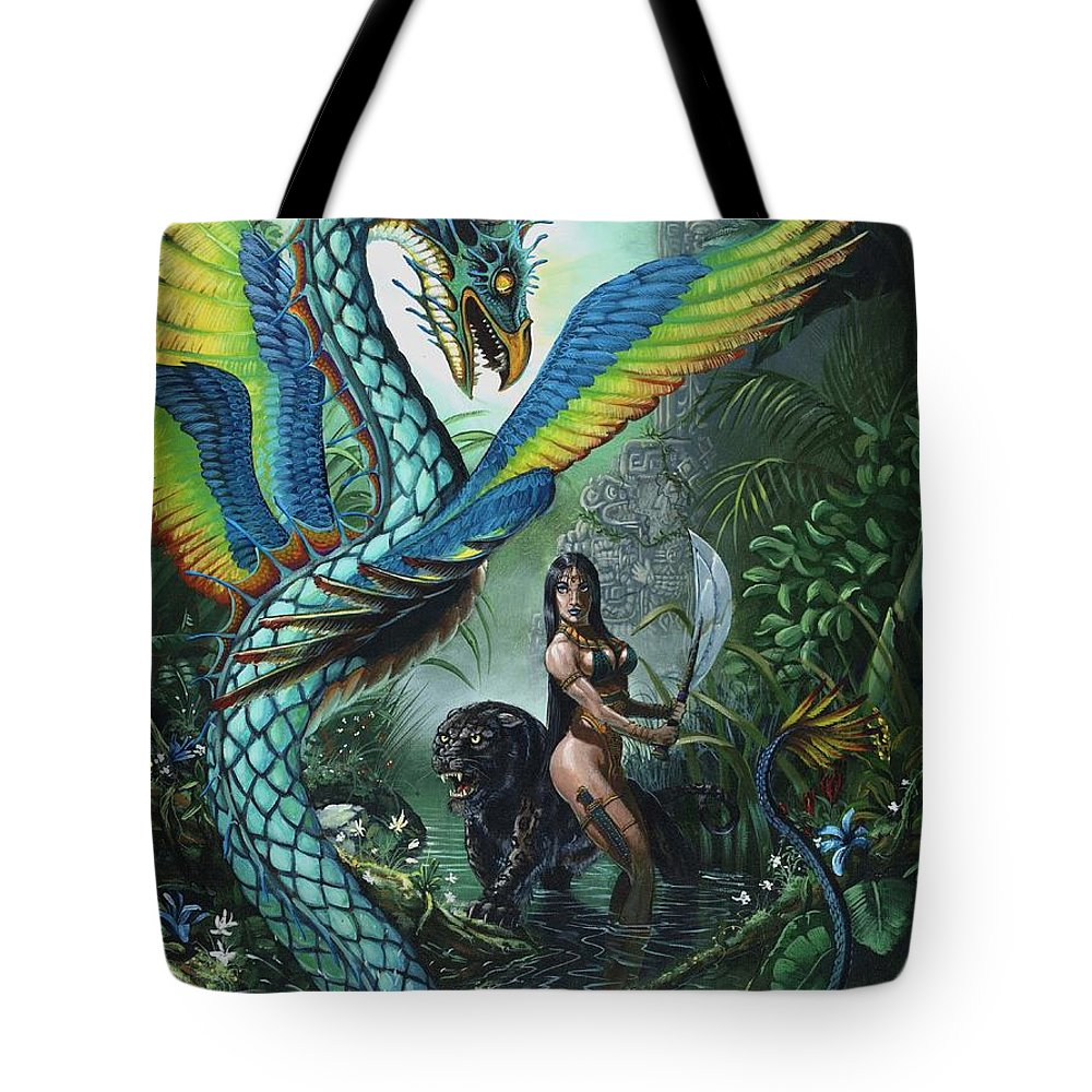 Dragon Tote Bag featuring the painting Tropical Temptress by Stanley Morrison