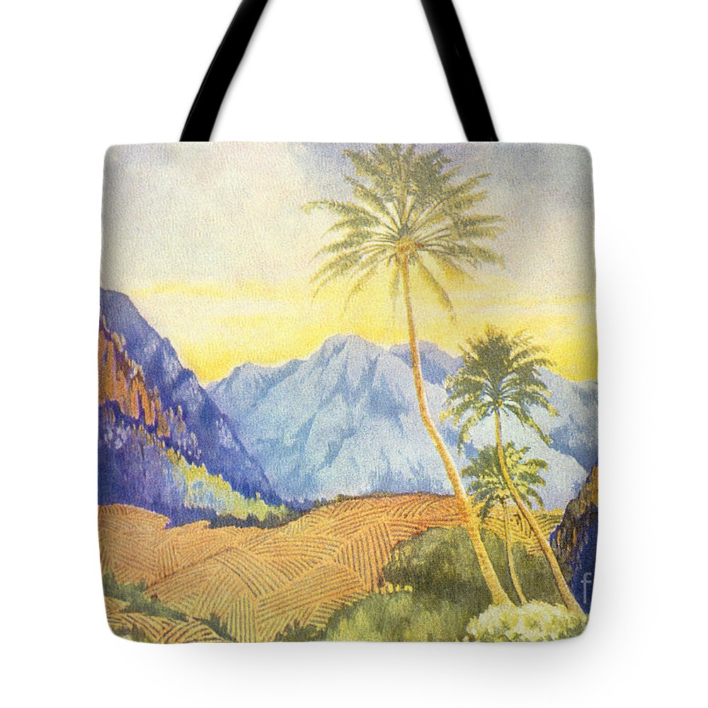 1922 Tote Bag featuring the painting Tropical Vintage Hawaii by Hawaiian Legacy Archive - Printscapes