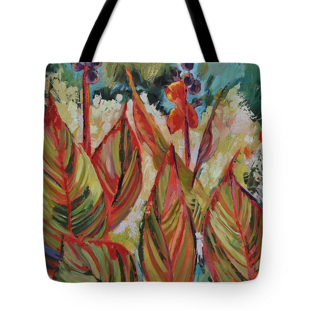 Tropicana Tote Bag featuring the painting Tropicana by Ginger Concepcion