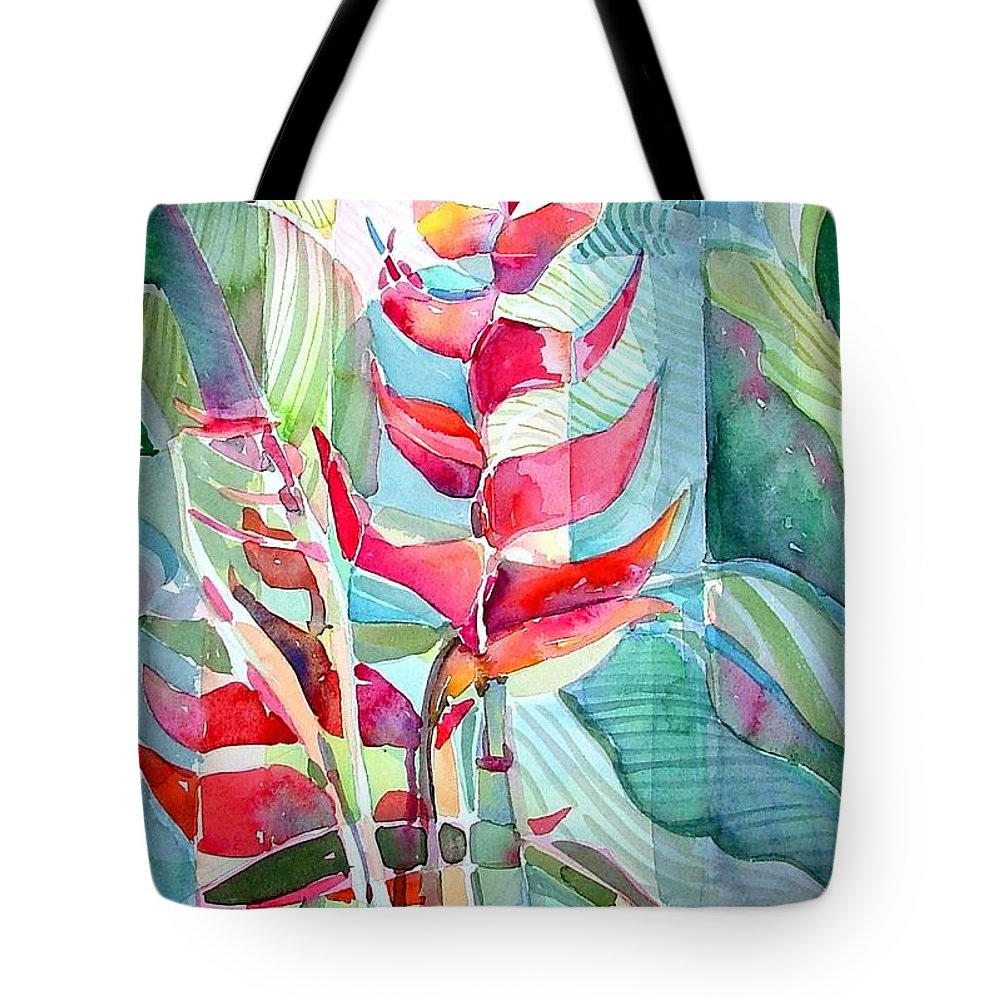 Landscape Tote Bag featuring the painting Tropicana Red by Mindy Newman