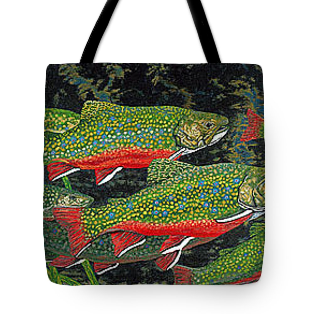 Art Tote Bag featuring the painting Trout Art Brook Trout Fish Artwork Giclee Wildlife Underwater by Baslee Troutman
