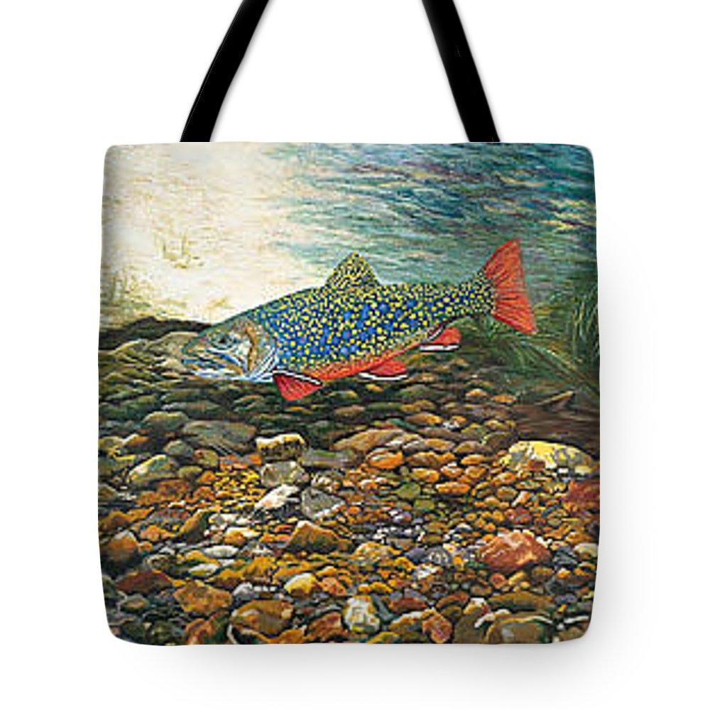 Art Tote Bag featuring the painting Trout Art Fish Art Brook Trout Suspended Artwork Giclee Fine Art Print by Baslee Troutman