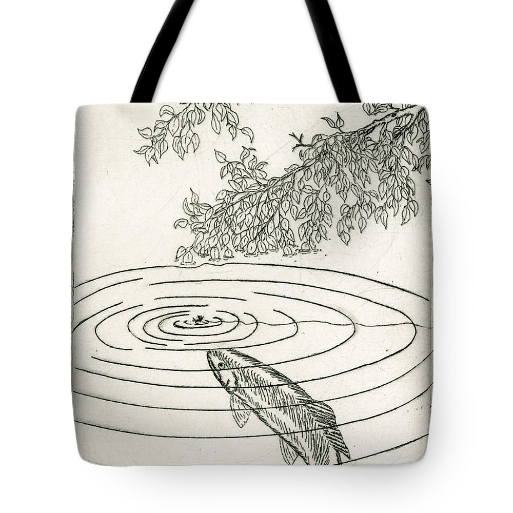Charles Harden Tote Bag featuring the drawing Trout Rising To Dry Fly by Charles Harden