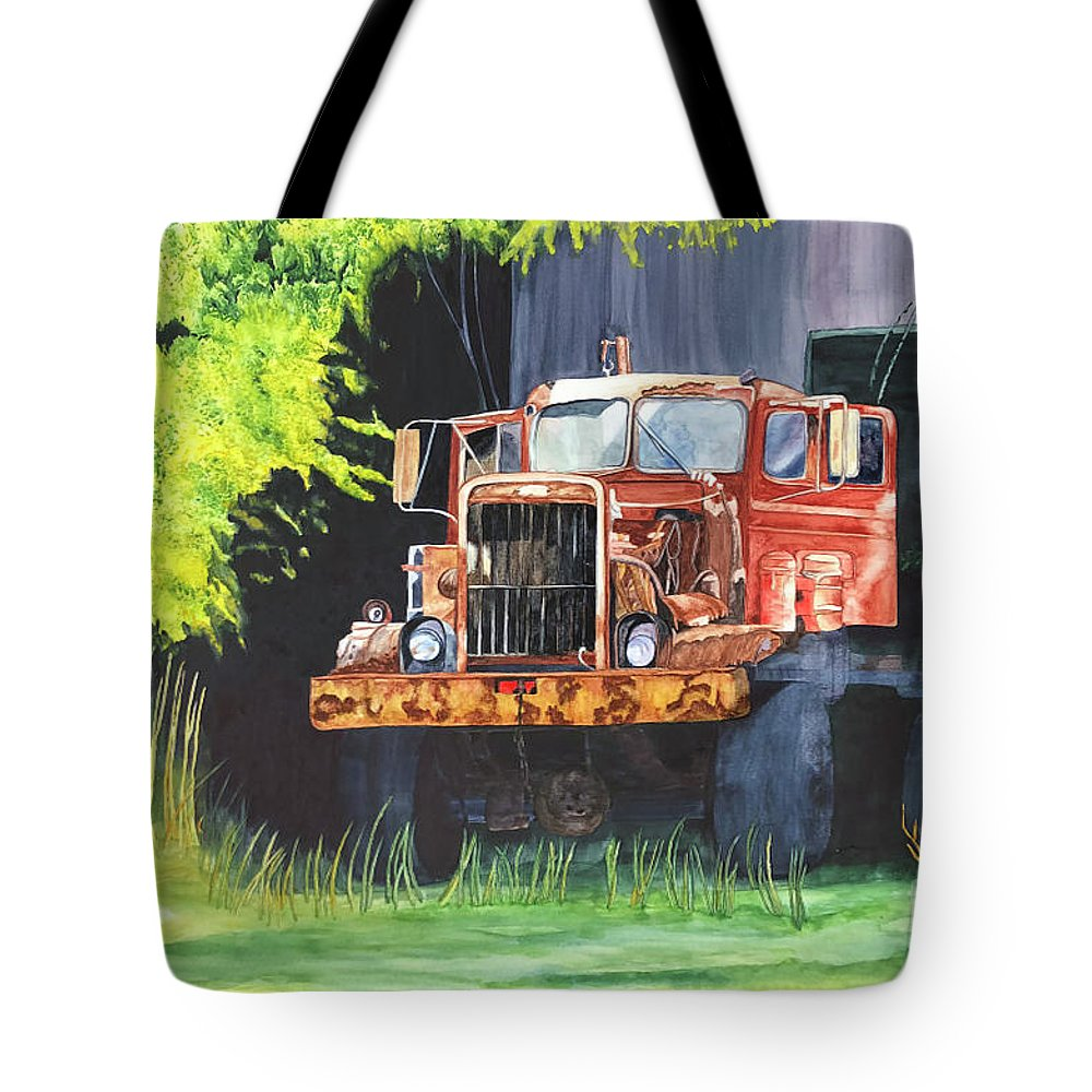 Rust Tote Bag featuring the painting Truck Rusted by Teresa Beyer