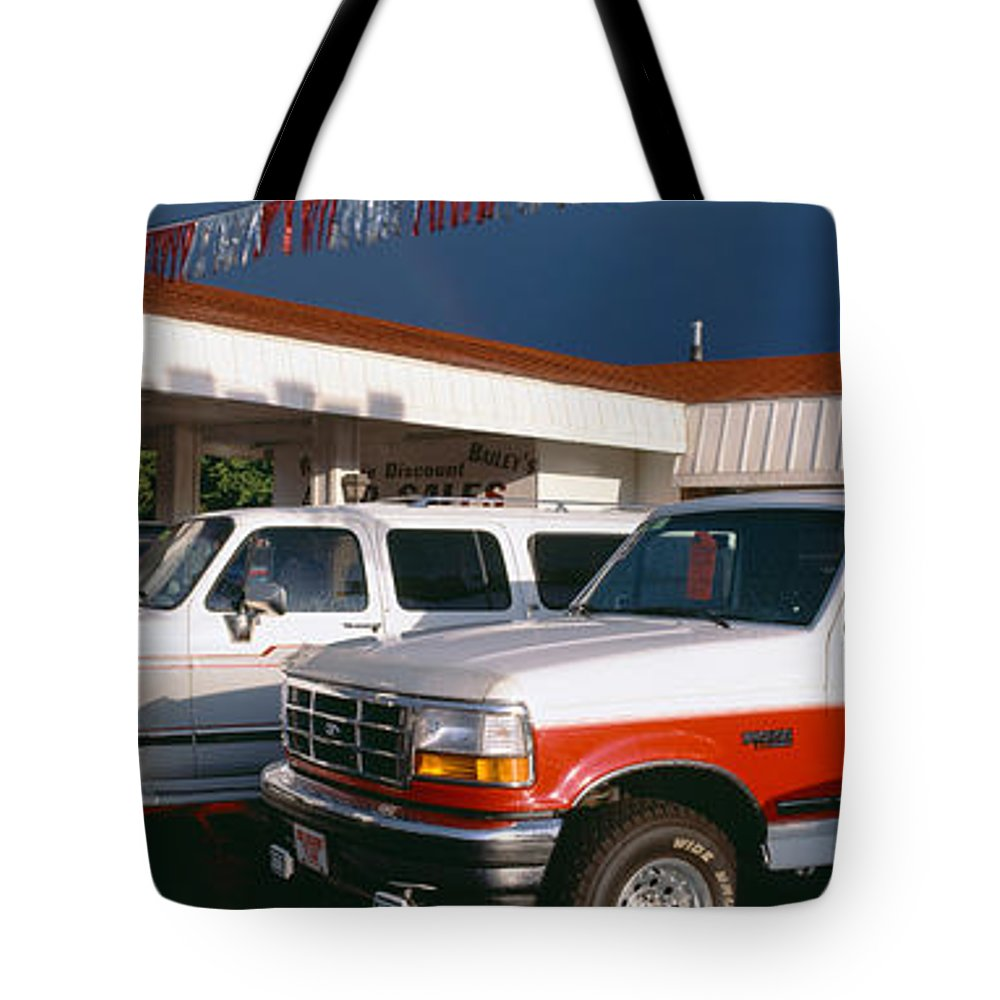 Photography Tote Bag featuring the photograph Trucks In Used Car Lot, St. George, Utah by Panoramic Images