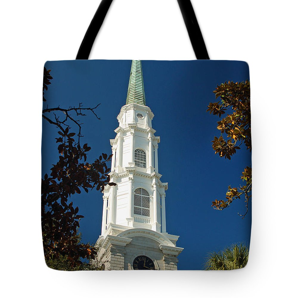 Steeple Tote Bag featuring the photograph True North - Savannah Steeple by Suzanne Gaff
