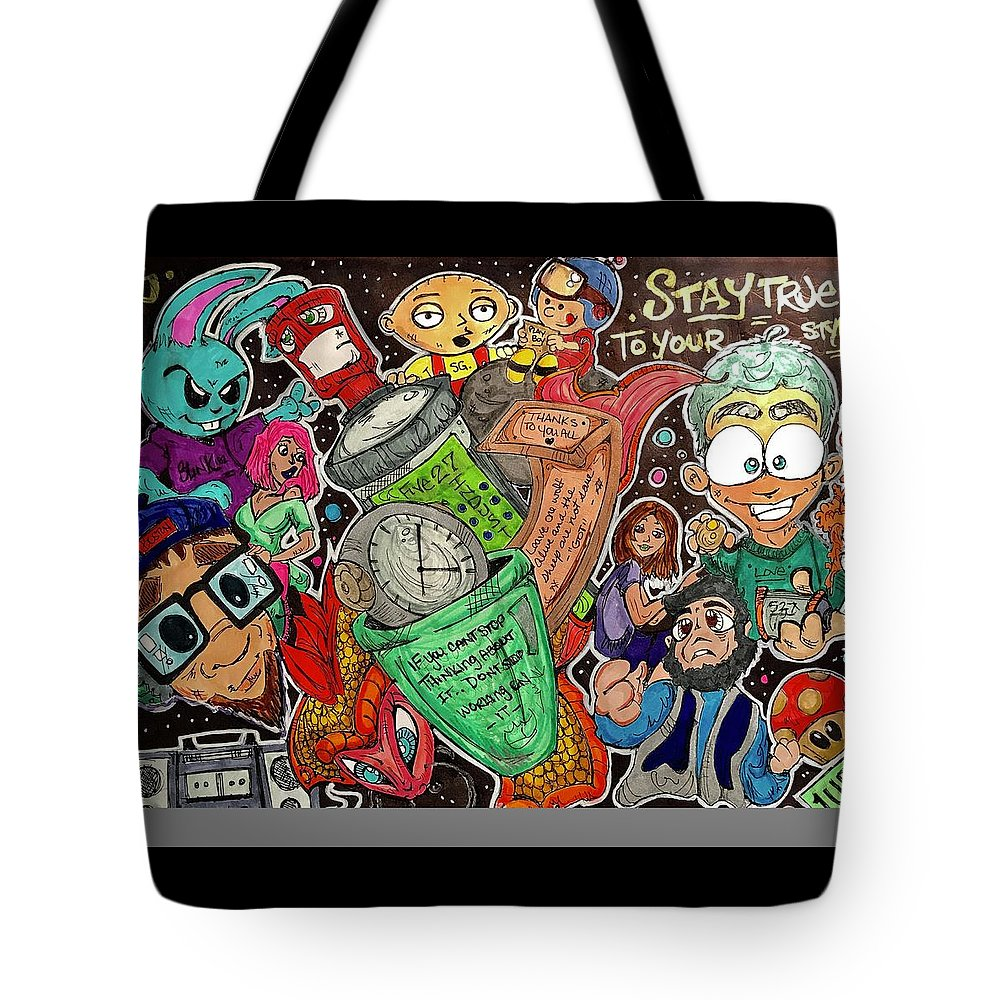 Cartoon Tote Bag featuring the mixed media True Style by Jeffrey Stafford
