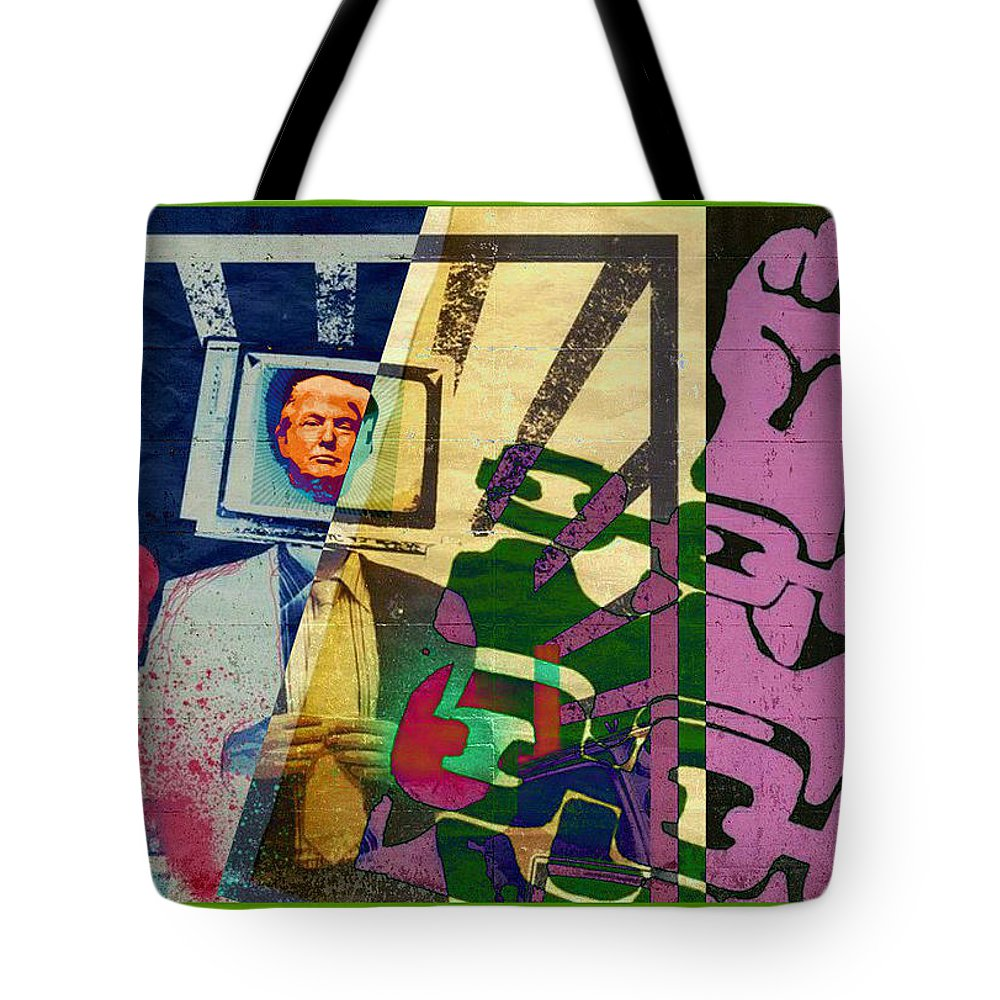 Trump The Con Wants To Shut Down The Press.... Fight For Your Freedom Tote Bag featuring the digital art Trump The Con Wants To Shut Down The Press.... Fight For Your Freedom by Tony Adamo