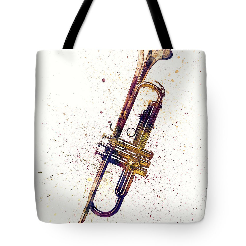 Trumpet Tote Bag featuring the digital art Trumpet Abstract Watercolor by Michael Tompsett