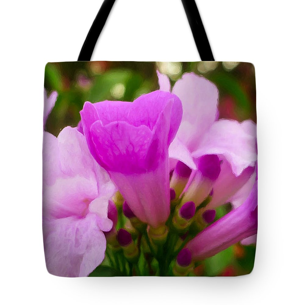 Background Tote Bag featuring the painting Trumpet Flower 5 by Jeelan Clark