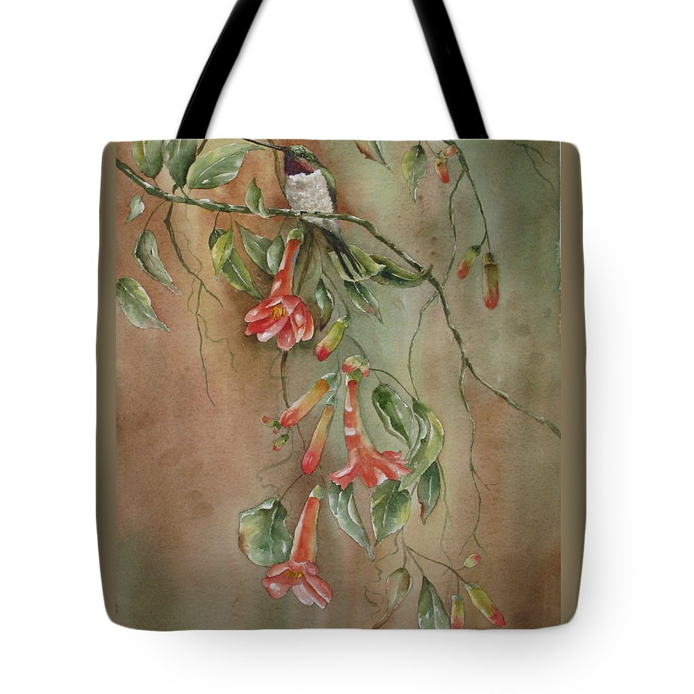 Hummingbird Tote Bag featuring the painting Trumpet Nectar by Mary McCullah