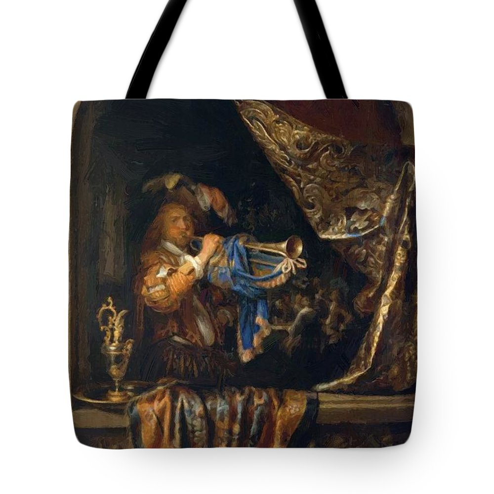 Trumpet Tote Bag featuring the painting Trumpet Player In Front Of A Banquet 1665 by Dou Gerrit