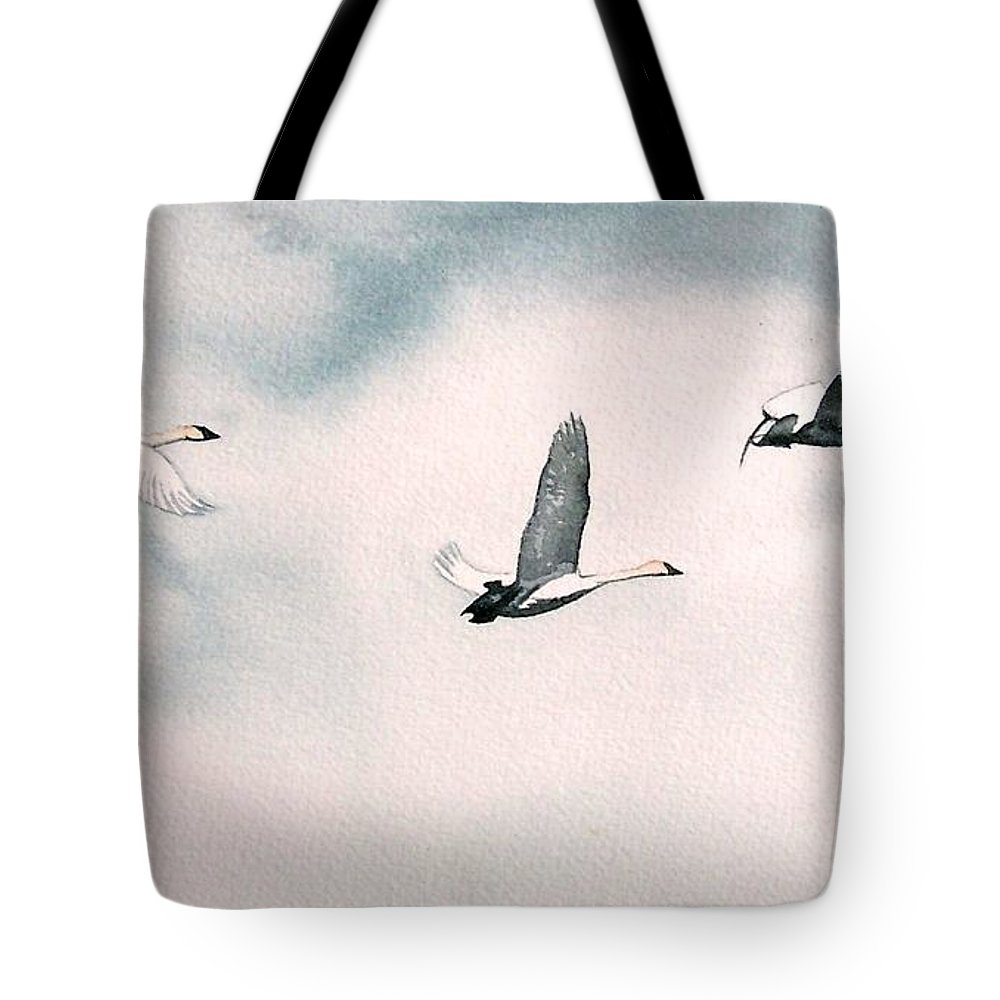 Swans Tote Bag featuring the painting Trumpeters by Gale Cochran-Smith