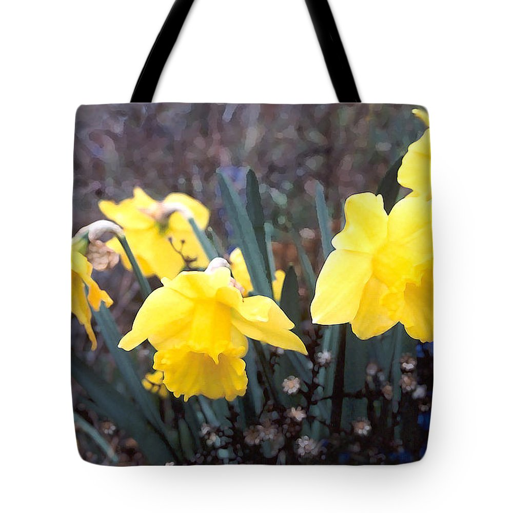 Flowes Tote Bag featuring the photograph Trumpets Of Spring by Steve Karol