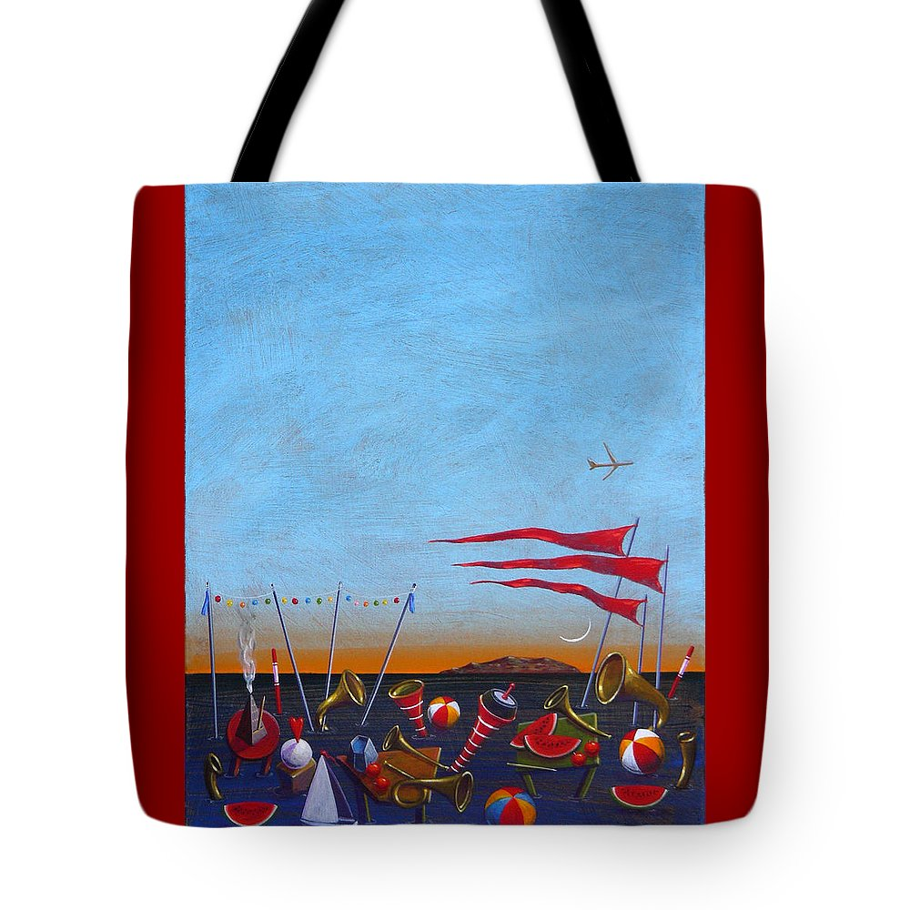 Piano Tote Bag featuring the painting Trumpets Of The Mediterranean by Dimitris Milionis
