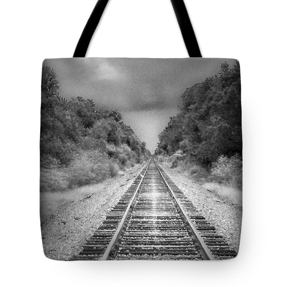 Railroad Tote Bag featuring the photograph Trust In Him by Tamivision