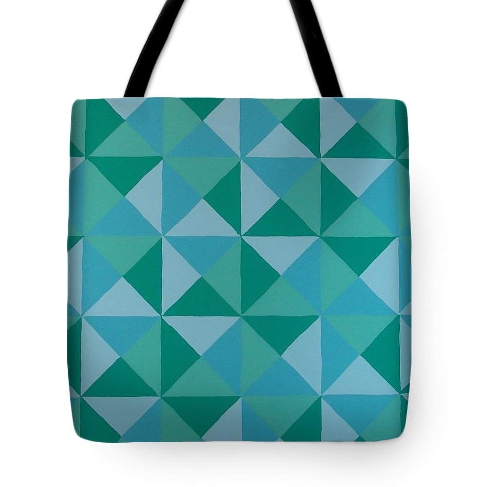 Triangles Tote Bag featuring the painting Trying Any Angle by Gay Dallek