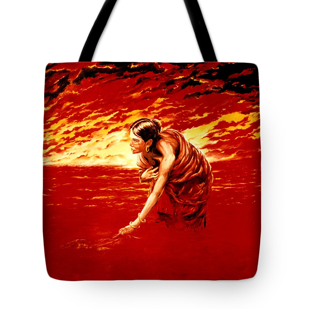 Seascape Tote Bag featuring the painting Tsunami by Mark Cawood