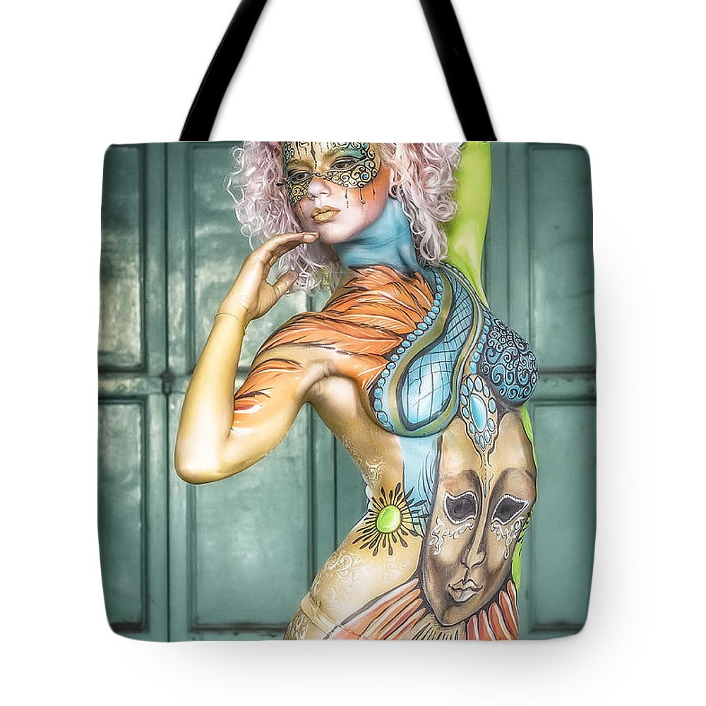 Bodypainting Tote Bag featuring the photograph Tu M'as Promis by Traven Milovich