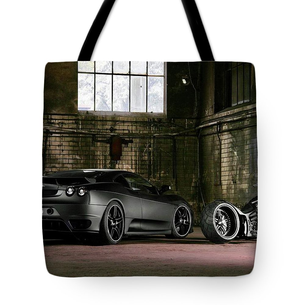 Automotive Tote Bag featuring the photograph Tu Nero II by EliteBrands Co