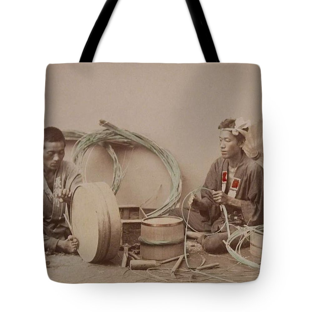 Native Tote Bag featuring the painting Tub-maker 1890 by Celestial Images