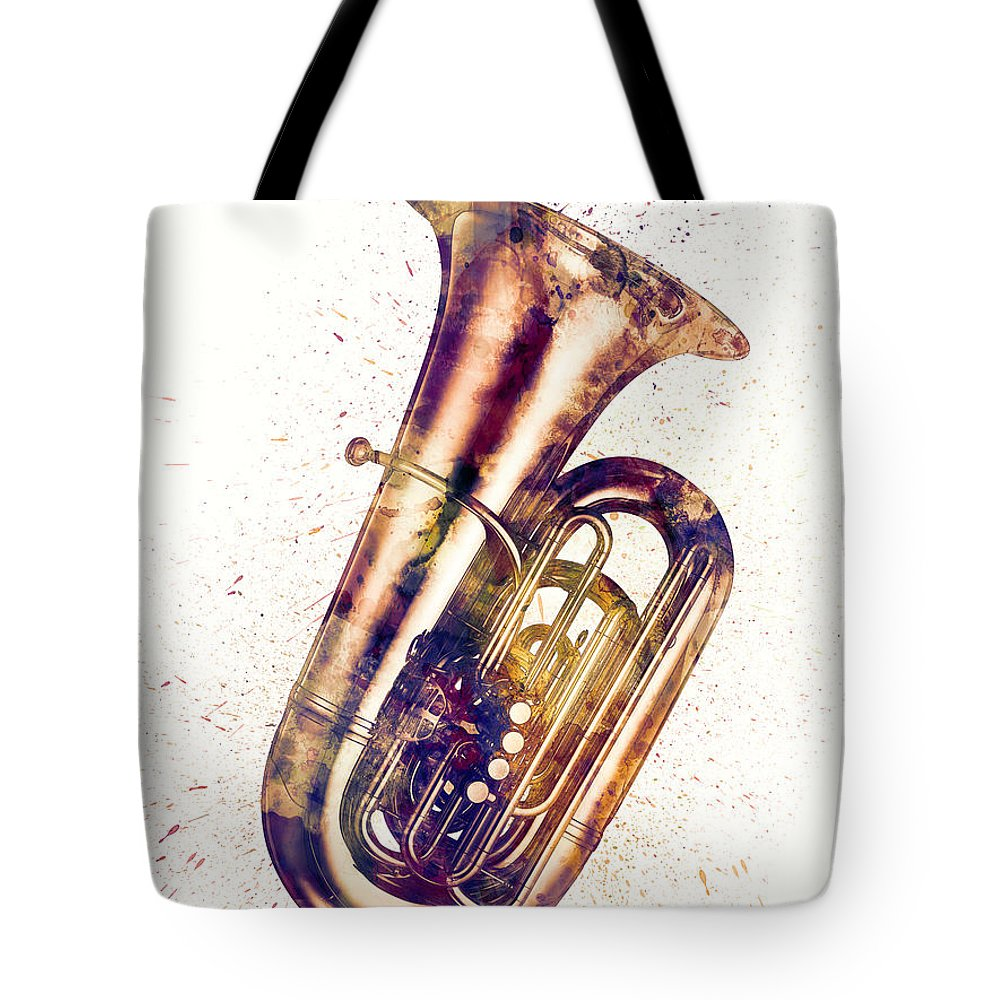 Tuba Tote Bag featuring the digital art Tuba Abstract Watercolor by Michael Tompsett