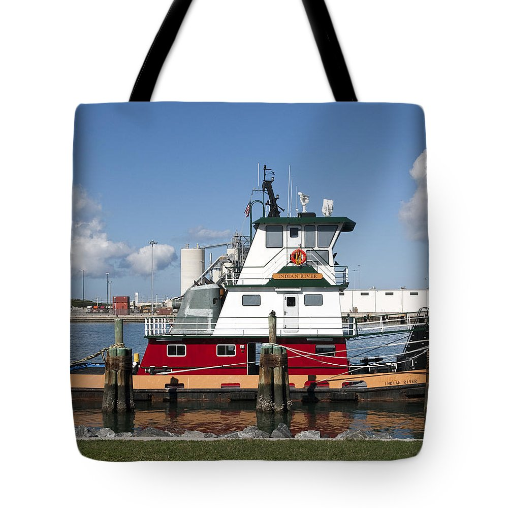 Tug Tote Bag featuring the photograph Tuboat Indian River by Allan Hughes