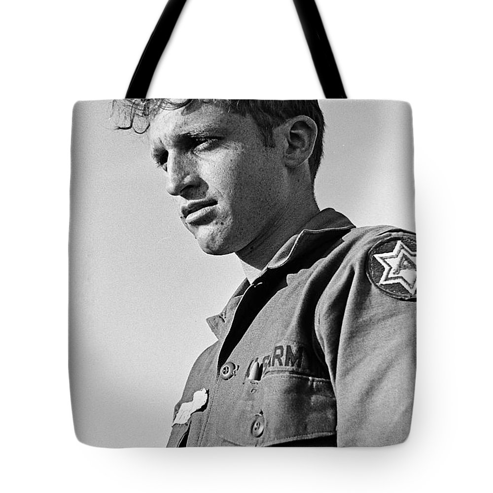 Tucson Arizona Reservist Taking Part In Summer Camp Exercise Death Valley California 1968 Tote Bag featuring the photograph Tucson Arizona Army Reservist Taking Part In Summer Camp Exercise Death Valley Ca 1968 by David Lee Guss