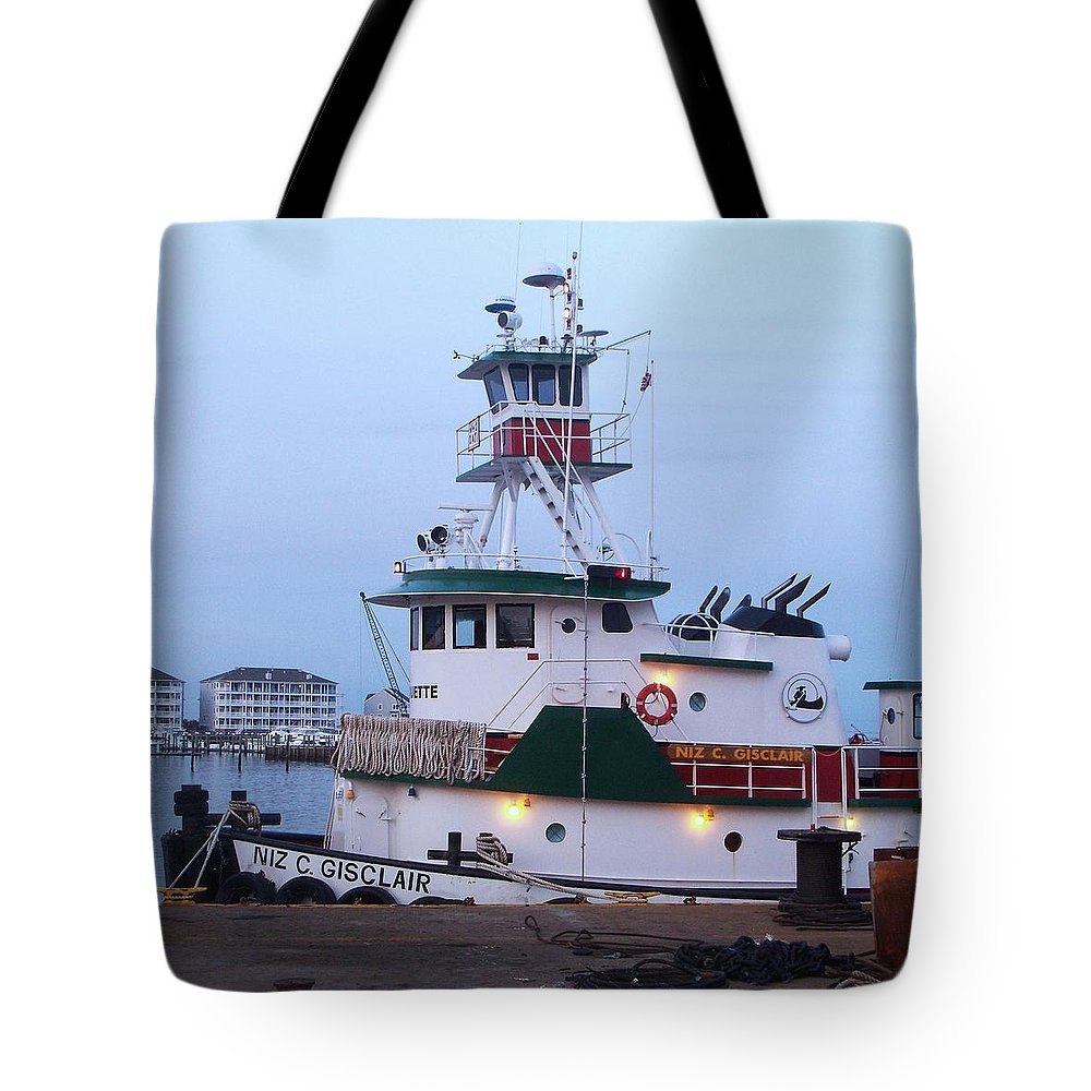 Tugboat Tote Bag featuring the painting Tugboat At Twilight by Eric Schiabor