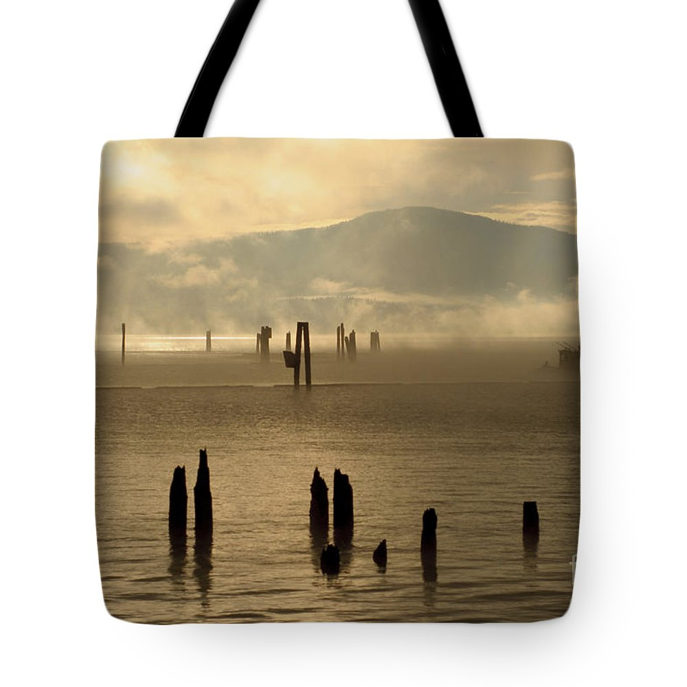 Tugboat Tote Bag featuring the photograph Tugboat In The Mist by Idaho Scenic Images Linda Lantzy