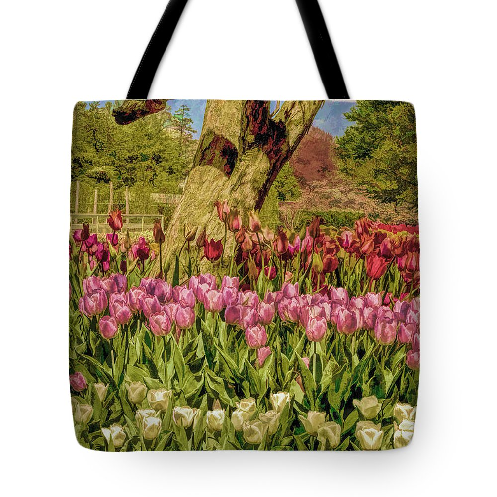 Tulip Bed Tote Bag featuring the photograph Tulip Bed At Longwood Gardens In Pa by Geraldine Scull