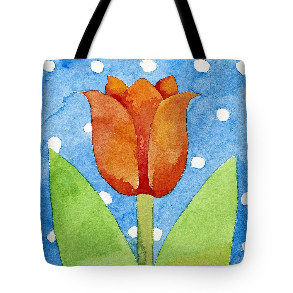 Flower Tote Bag featuring the painting Tulip Blue White Spot Background by Jennifer Abbot