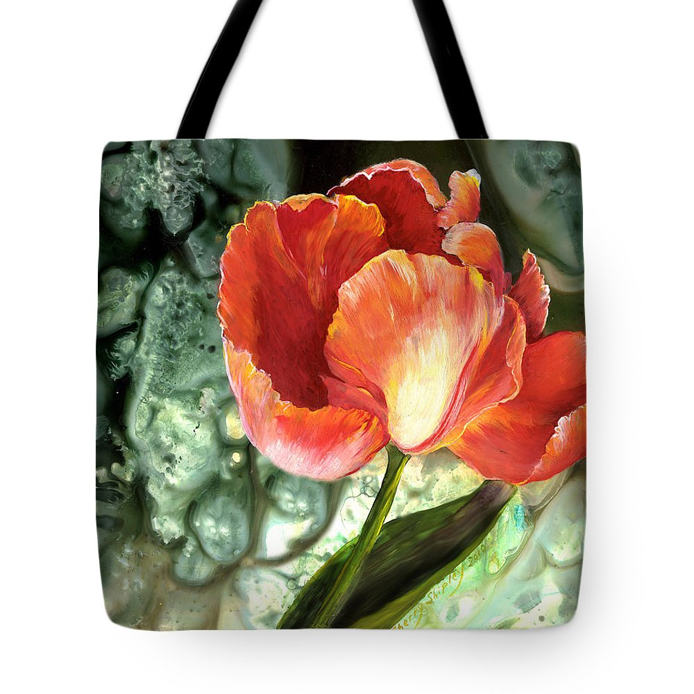 Tulip Tote Bag featuring the painting Tulip Dance by Sherry Shipley