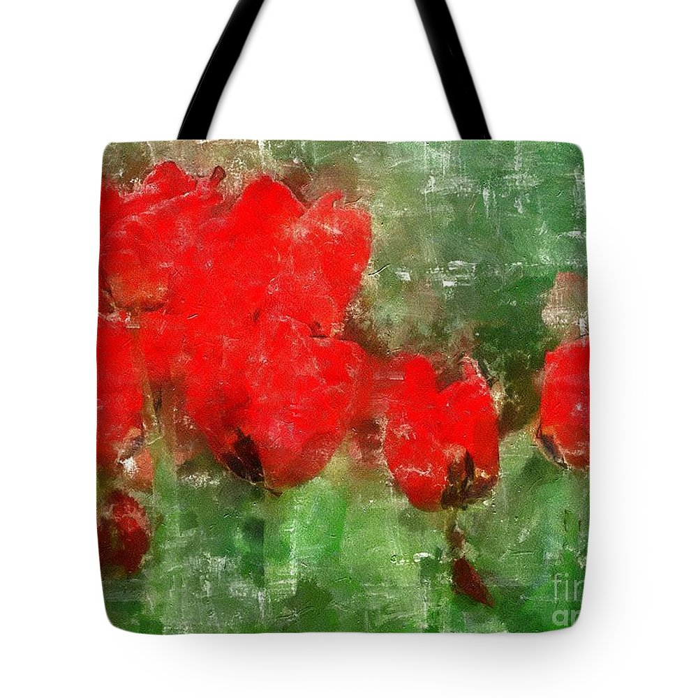 Flowers Tote Bag featuring the painting Tulip Decay Deconstructed by RC DeWinter