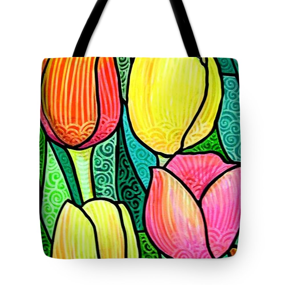 Tulips Tote Bag featuring the painting Tulip Expo by Jim Harris