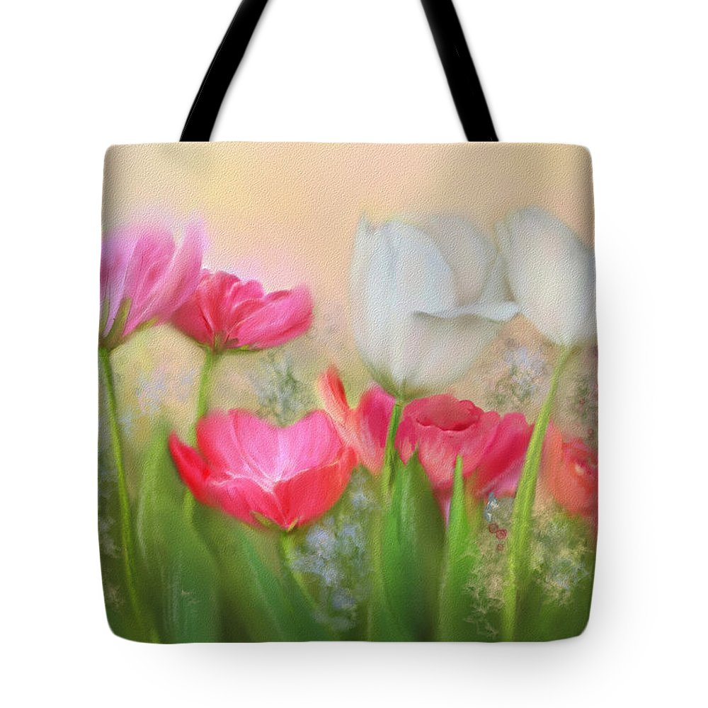 Tulips Tote Bag featuring the painting Tulip Garden by Bonnie Willis