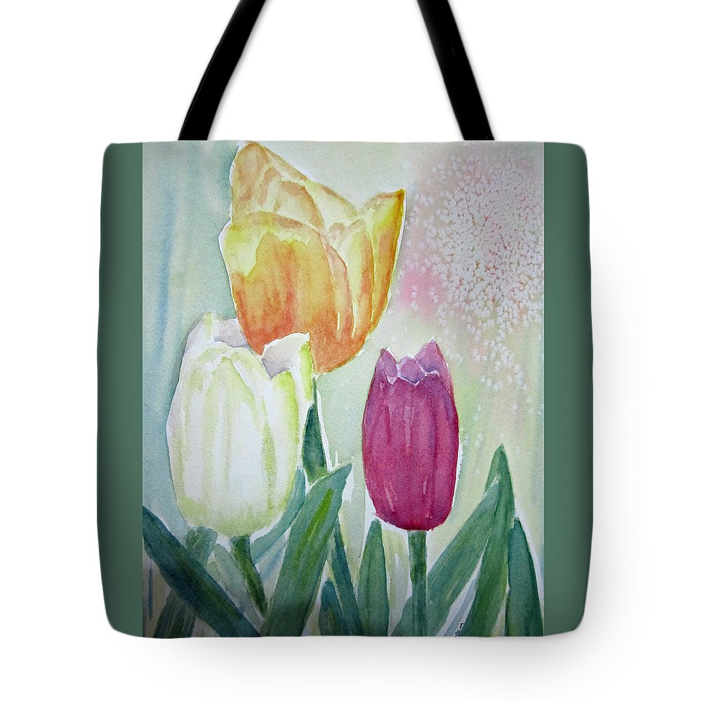 Floral Tote Bag featuring the painting Tulips by Elvira Ingram
