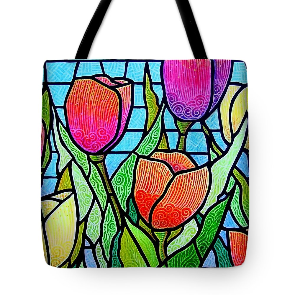 Tulips Tote Bag featuring the painting Tulip Garden by Jim Harris