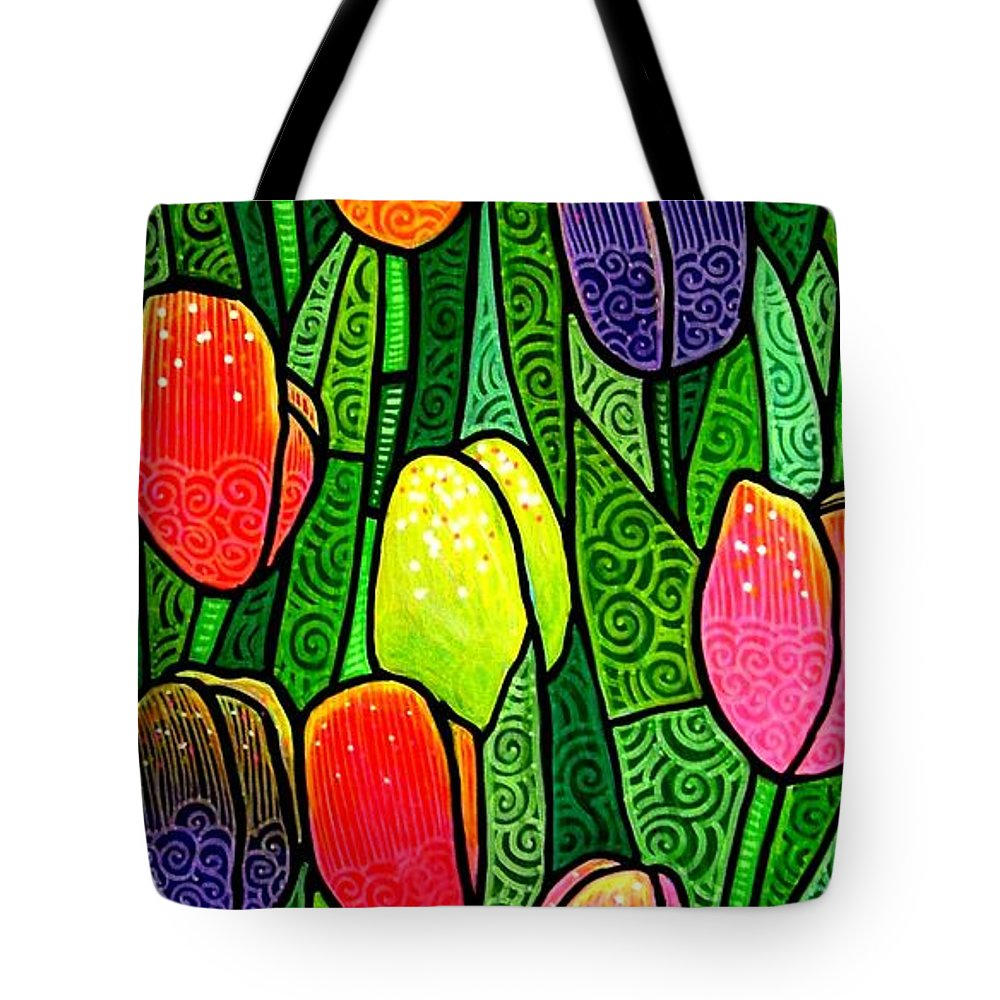 Tulips Tote Bag featuring the painting Tulip Glory by Jim Harris