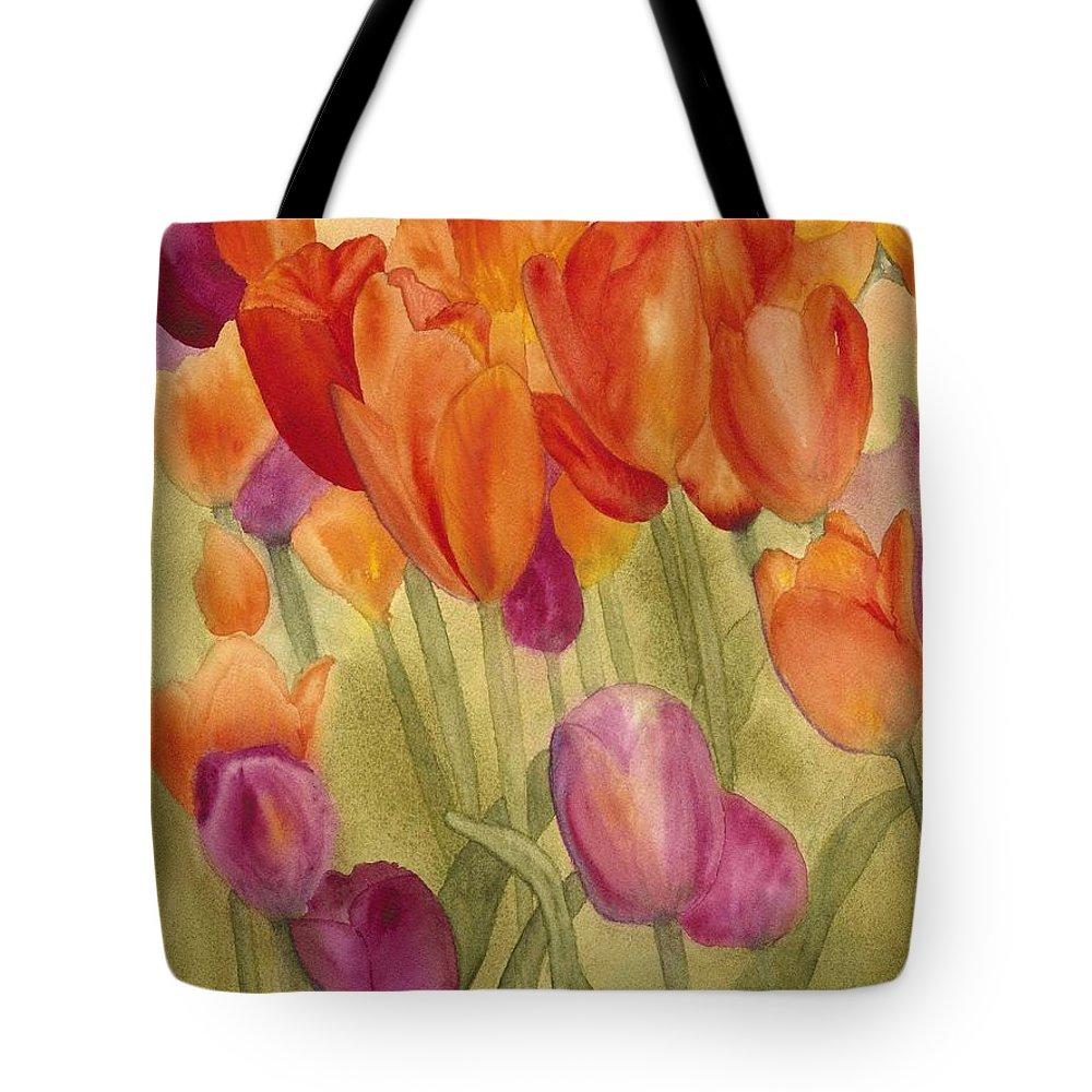 Tulips Tote Bag featuring the painting Tulip Glory by Louise Magno