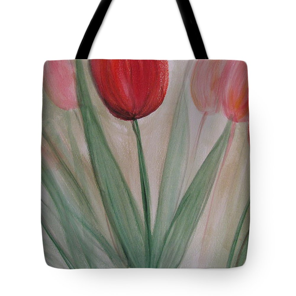Tulips Tote Bag featuring the painting Tulip Series 4 by Anita Burgermeister