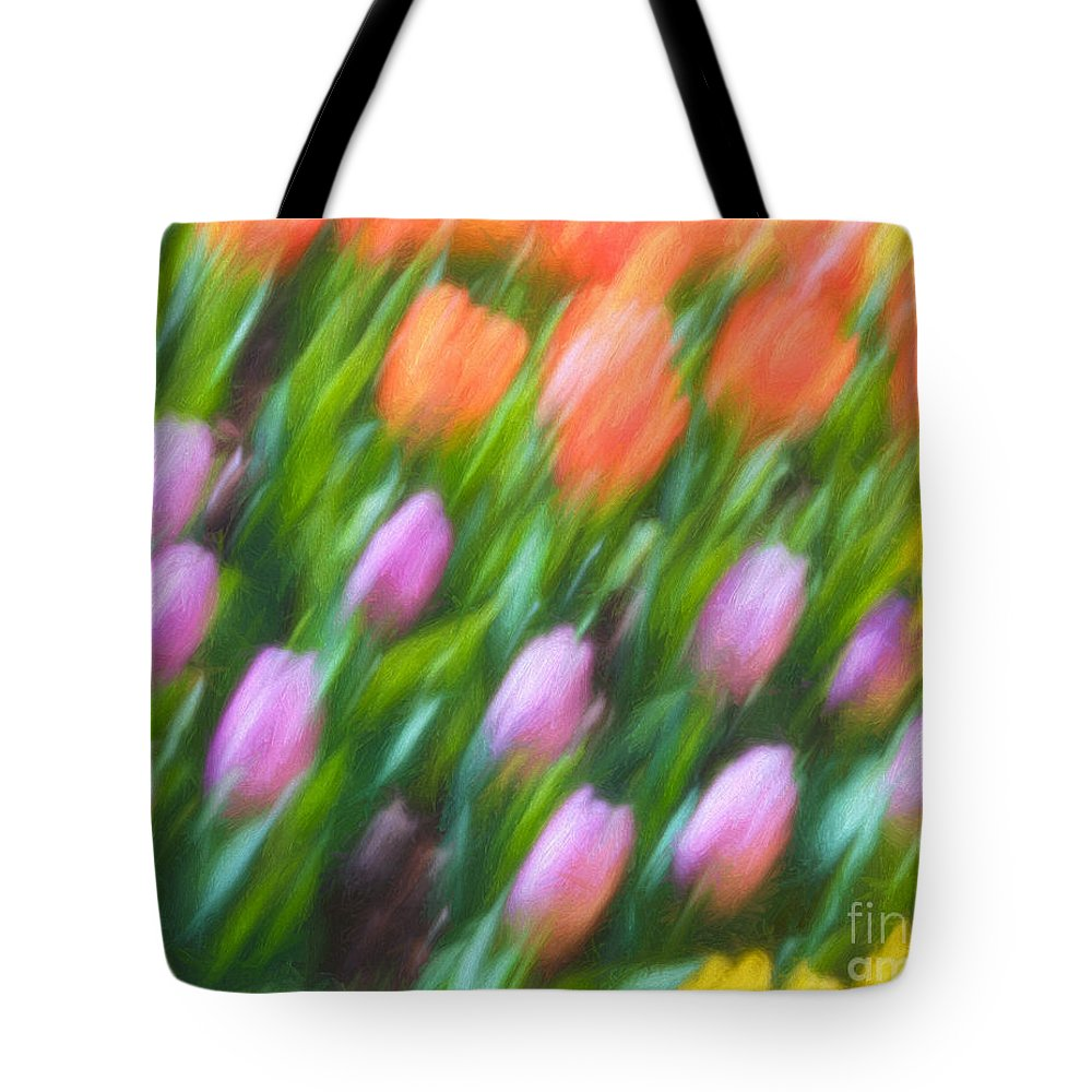 Brookside Gardens Tote Bag featuring the photograph Tulip Swipe by Izet Kapetanovic