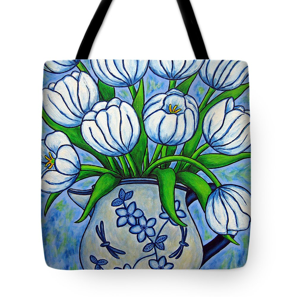 Flower Tote Bag featuring the painting Tulip Tranquility by Lisa Lorenz