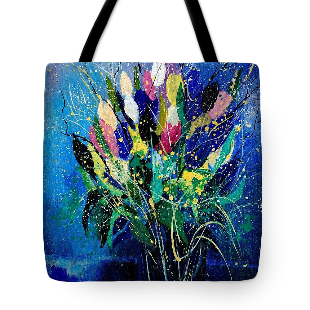 Flowers Tote Bag featuring the painting Tulips 45 by Pol Ledent